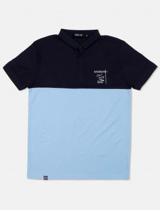 Freeze solid light blue cotton t-shirt