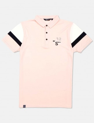 Freeze solid peach polo neck t-shirt