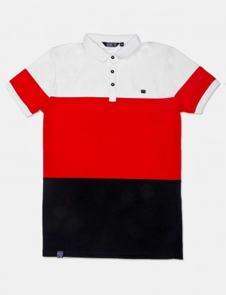 Freeze solid red and black cotton t-shirt