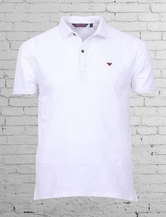 Freeze white plain cotton t-shirt