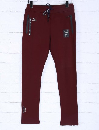 Freeze wine maroon solid track pant