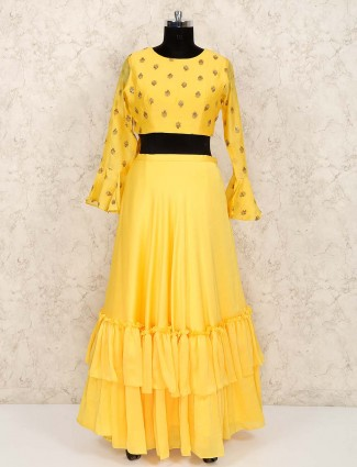Frill style yellow georgette party lehenga choli