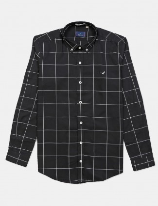 Frio black cotton checks shirt