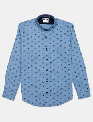 Frio blue printed shirt for mens