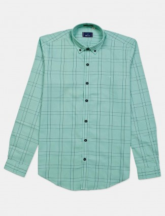 Frio green slim fit checks shirt
