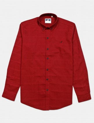 Frio maroon solid cotton shirt