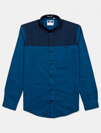 Frio slim collar solid blue shirt