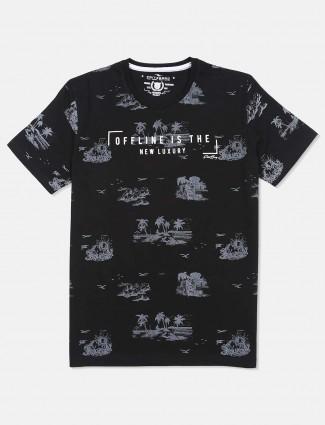 Fritzberg black printed cotton slim fit t-shirt for men