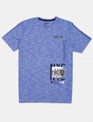 Fritzberg blue printed cotton mens casual t-shirt