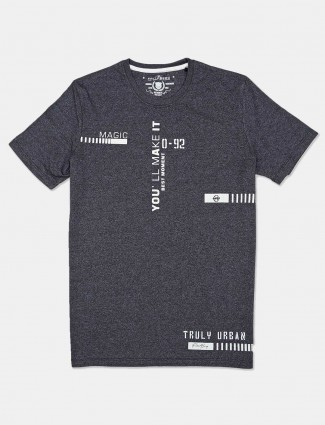 Fritzberg dark grey printed slim fit t-shirt