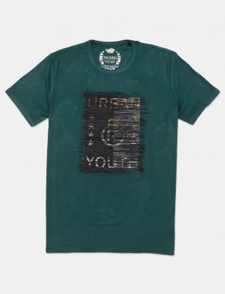 Fritzberg green printed cotton round neck t-shirt