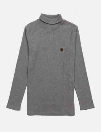 Fritzberg grey solid turtle neck t-shirt