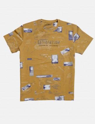 Fritzberg mustard yellow printed t-shirt