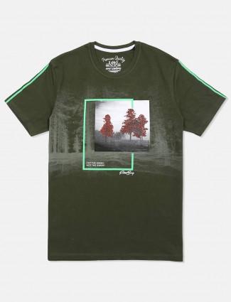 Fritzberg olive printed cotton t-shirt