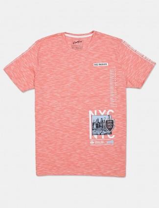 Fritzberg peach printed cotton half sleeve t-shirt