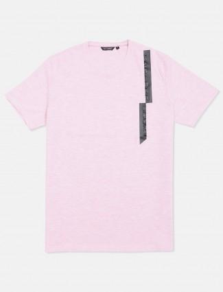 Fritzberg pista pink solid cotton slim fit t-shirt