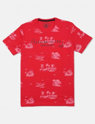 Fritzberg red printed cotton mens t-shirt