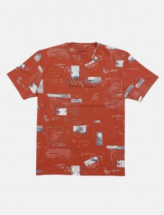 Fritzberg rust orange printed t-shirt