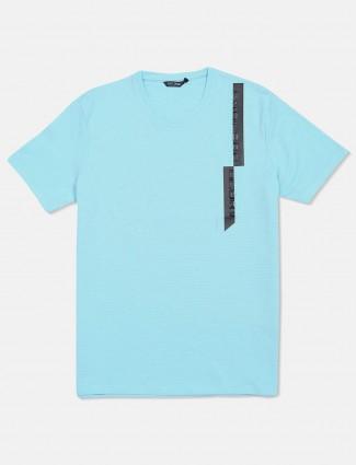Fritzberg solid aqua cotton t-shirt