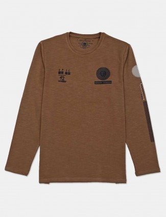Fritzberg solid brown full sleeves t-shirt