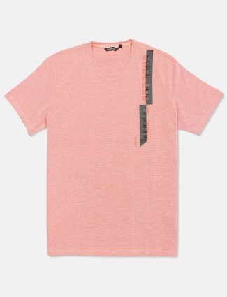 Fritzberg solid dusty pink cotton round neck t-shirt