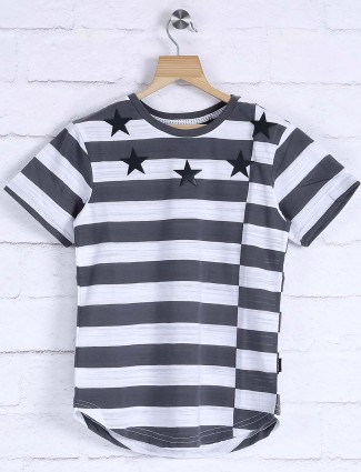 Fritzberg white and grey stripe t-shirt