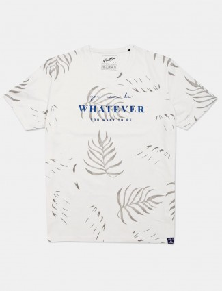 Fritzberg white printed cotton casual t-shirt