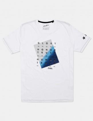 Fritzberg white printed mens cotton t-shirt