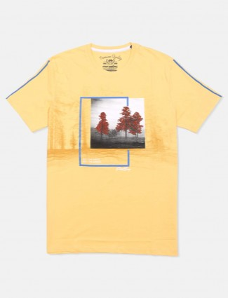 Fritzberg yellow printed cotton t-shirt for men