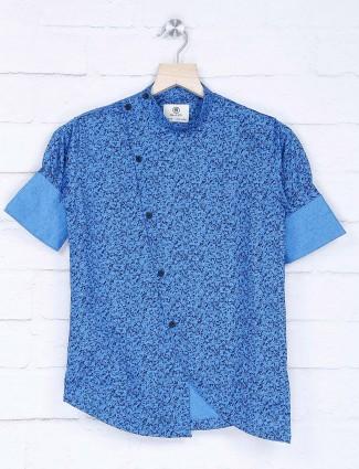 Full sleeve blue printed cotton kurta