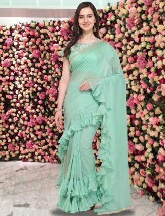 G3 Exclusive aqua color ruffle style cotton silk saree