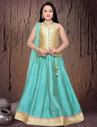 G3 Exclusive aqua wedding wear silk lehenga choli