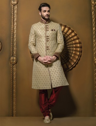 G3 exclusive beige coloured  jamawar men wedding sherwani
