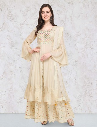 G3 Exclusive beige hue double layer salwar suit in cotton