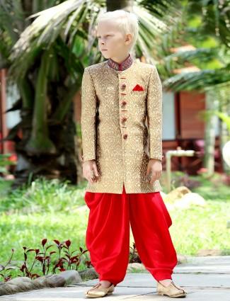 G3 exclusive beige jamawar boys indo western