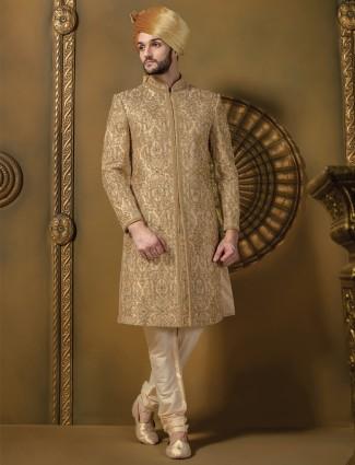 G3 exclusive beige jamawar men wedding sherwani