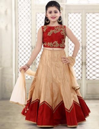 G3 Exclusive beige raw silk wedding wear lehenga choli