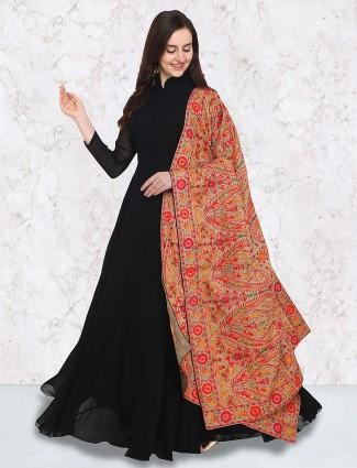 G3 Exclusive black color georgette floor length anarkali suit