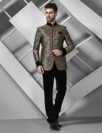 G3 exclusive black men jodhpuri silk coat suit