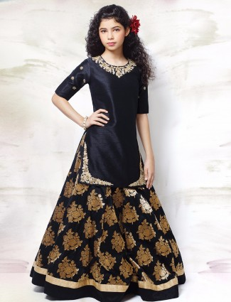 G3 Exclusive black raw silk wedding wear lehenga choli