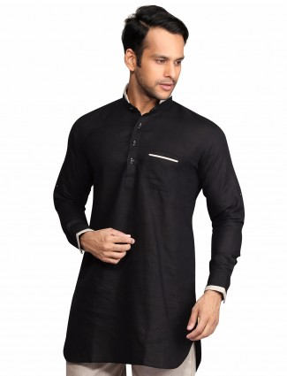 G3 Exclusive black solid party wear cotton Short Pathani