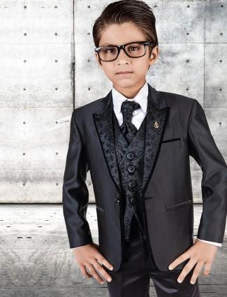 G3 Exclusive black terry rayon plain boys party wear coat suit