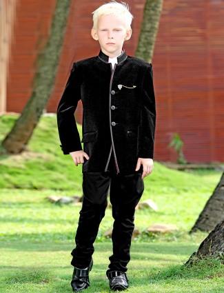 G3 Exclusive black velvet plain boys jodhpuri coat suit