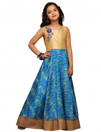 G3 Exclusive blue gold raw silk attractive party wear gown
