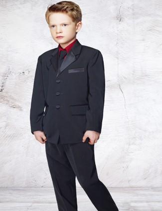 G3 Exclusive boys terry rayon plain black coat suit