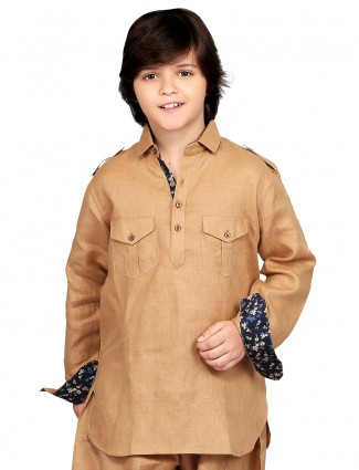G3 Exclusive brown cotton festive wear Short Pathani