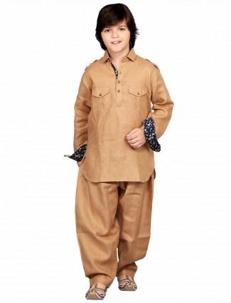 G3 Exclusive brown cotton plain festive wear Pathani Suit