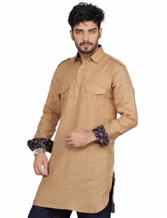 G3 Exclusive brown party wear cotton plain Short Pathani