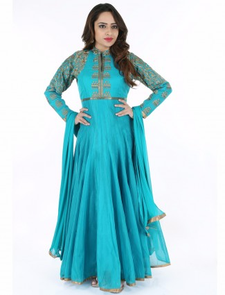 G3 Exclusive cotton aqua wedding ready made anarkali suit