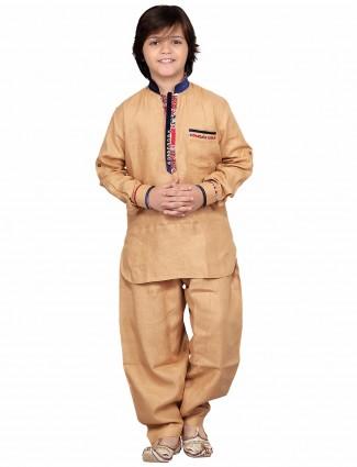 G3 Exclusive cotton beige festive wear plain Pathani Suit